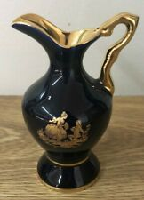 Limoges Castel France 22k Gold Trim Vase Blue
