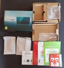V.N mint Nintendo 3ds game console EMPTY Aqua Blue box/shipper/manuals collector