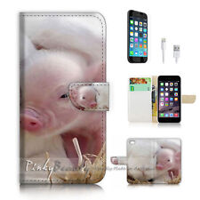 ( For iPhone 7 Plus ) Wallet Case Cover P2609 Baby Pig Bunny