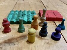 Vintage Monopoly Wooden Game Pieces 34 Houses 12 Hotels & 8 Tokens