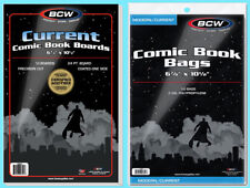 50 BCW CURRENT COMIC BOOK BAGS & BACKING BOARDS Clear Archival Acid Free Modern