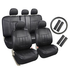 Auto Universal Fit Leather Seat Covers Set for Car suv Trucks Black Front & Rear