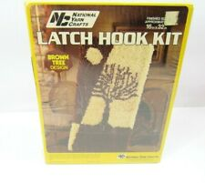 Vintage National Yarn Latch Hook Rug Kit Brown Tree R118 New Sealed Box Retro