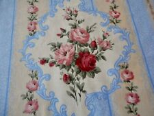 Vintage French Floral Roses Medallion Stripe Cotton Fabric ~ Rose Red Blue Moss