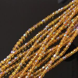 100 Fine Trade Czech Light Topaz AB Round Faceted fire Polished Glass beads-4mm