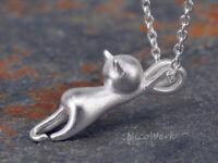 Silberkette mit Anhänger Katze Kitten Halskette Damen 925 Silber Kette Schmuck