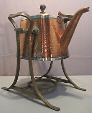 JOS. HEINRICHS__Hammered Copper/Sterling Silver Tea Pot & Stand__ExC_SHIPS FREE