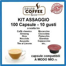 KIT ASSAGGIO 100 capsule A MODO MIO: Caffè, Ginseng, Nocciola, Pistacchio,etc