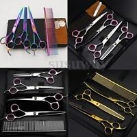 8''Professional Pet Dog Cat Grooming Scissors Cutting Curved Thinning Shears Set