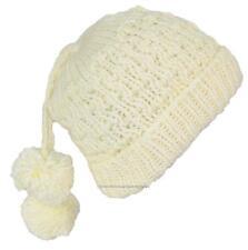 City Hunter Quality Hand Made Rib Knit Cuffed Winter Beanie W/Pom Pom #750 Cream