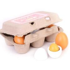 6Pcs/Set Wooden Eggs Yolk Children Pretend Play Kitchen Food Cooking Toy CO