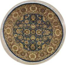 Rugstc 6x6 Senneh Pak Persian Blue Area Rug, Hand-Knotted,Floral with Wool Pile