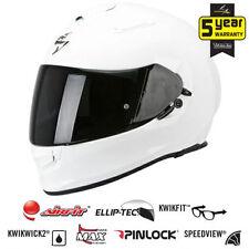 Cascos brillantes Scorpion color principal blanco para conductores