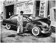 1950 Brand New Ford Totaled in Accident at Body Shop 8 x 10 Photograph