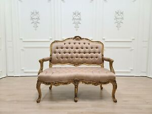 French Loveseat/ Gold Leaf Hand/ Carved Wood Frame/ Tufted Light Brown Satin