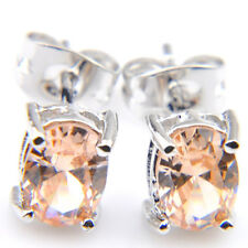 Rectangle Style Woman Shiny Honey Morganite Gemstone Silver Stud Hook Earrings