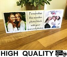"11x4"" Personalised Wood Photo Quote Block Friendship Gift  Best Friend Present"