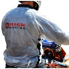 RISK RACING LARGE HYDRO RAIN WATERPROOF JACKET CLEAR FOR TRIALS MOTOX ENDURO ATV