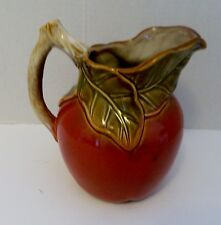 Delicious Red Apple Pitcher Decor Figural Leaves Twig Handle Water Beverage