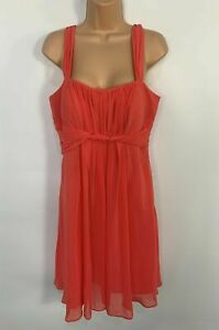 BNWT WOMENS DEBUT DARK PEACH SLEEVELESS PARTY OCCASION A LINE DRESS SIZE UK 14