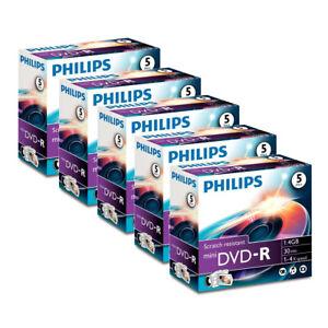 25x Philips 8cm Mini DVD-R 1,4 GB Rohlinge 30 Minuten max. 4x Speed im Jewelcase