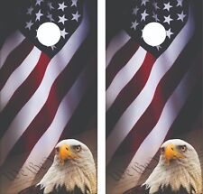 Patriotic Flag Eagle Constitution Cornhole Board Skin Wrap Decal SET - Laminated
