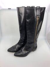 Michael Kors Riding Boots Black Leather 6.5 M tall zipper pointe toe