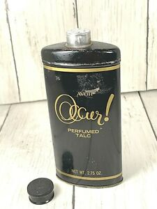 AVON  OCCUR Perfumed Talc Vintage  Tin Good Housekeeping Seal BLACK