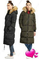 NEW Womens LONG PARKA COAT FUR JACKET Padded Quilted Black Size 8 10 12 14 16