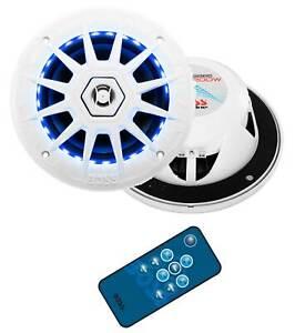"BOSS Audio MRGB65 6.5"" 200W Boat Marine RGB LED Light Speakers White (1 Pair)"