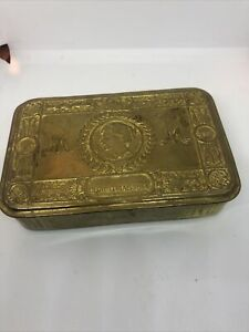 Genuine Antique WW1 Brass Princess Mary Christmas 1914 Tin D8