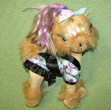 TINI PUPPINI TOFFEE YORKIE PUPPY DOG 2008 SPINMASTER PLUSH BENDABLE WITH CLOTHES