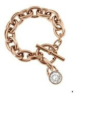 Michael Kors tono oro Rosa pulsera cadena articulada grande perno cristal