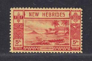 New Hebrides SG 62 Scott 60 F/VF MH 1938 5f Lopevi Island/Outrigger Canoe CV £75