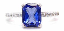 Argento Sterling Tanzanite E Diamante Anello 2.95ct (925) Taglia 7 (N)