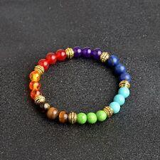7 Colors 8mm Prayer Buddha Beads Colorful Chakra Lava Rock Stone Bracelet