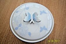 WHITE CERAMIC BOWL WITH BUTTERFLY LID BLUE BUTTERFLIES & FLOWERS 13 cms TALL NEW
