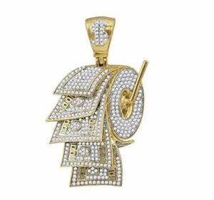 14K Yellow Gold Over Mens Diamond Dollar Bill Toilet Paper Roll Charm Pendant