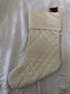 Pottery Barn Ivory Quilted Velvet Stocking Cream New With Tags Medium