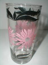 Hazel Atlas Pink Flower Black Leaf 10 oz Glass Tumbler