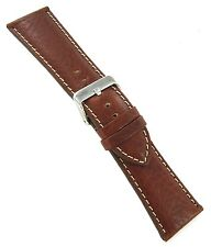 Leather Mens Watch Band Reg Ms906 30mm Hadley Roma Tan Padded Stitched Genuine