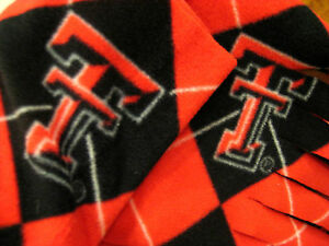 Texas Tech Red Raider - Scarf Muffler - Black and Red Argyle Fleece Neckwarmer