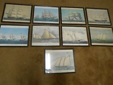 "Outstanding Set of 9  ""Famous"" SAILBOAT YACHT Prints Framed under Glass"