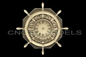 3D Model STL for CNC Router Carving Artcam Aspire ship's wheel Clock D219
