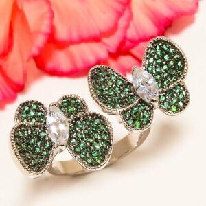 Butterfly - White Topaz, Emerald Quartz 925 Sterling Silver Ring s.8 F2528