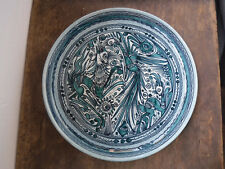 """Vintage Taxco Mexico FELIX TISSOT Hand Painted Fantasia 12.7"""" SERVING TRAY BLUE"""