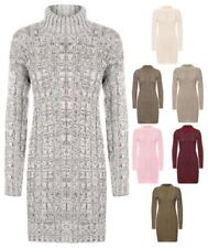 Cowl Neck Casual Dresses for Women with Cable Knit