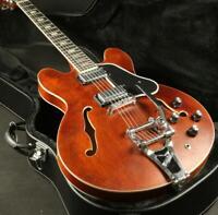 Vintage Brown ES-335 Semi Hollow Body Electric Guitar Bigsby Bridge Stain Finish