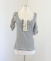 Postmark Anthropologie Black White Striped Lace Trim Blouse Top Sz XS Scoop Neck