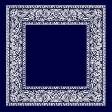 NAVY BLUE PREMIUM  PAISLEY BANDANA  BANDANNA  PLAIN CENTER